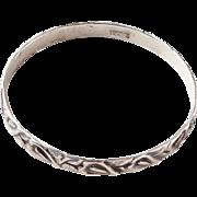 Mid Century Scandinavian Danish Modern Sterling Silver Danecraft Felch Calla Lily Anthurium Bangle Bracelet