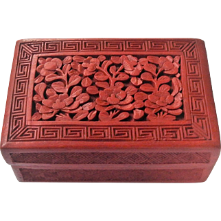 Chinese c1900 Early Cinnabar Carved Lacquer Table Box