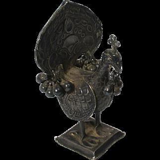 Antique Indo Persian Silver Peacock Figure Sculpture Miniature
