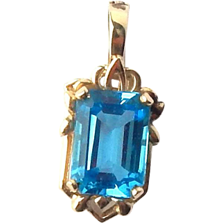 Estate 14k Yellow Gold 8ct Emerald Cut Blue Topaz Pearl Enhancer Pendant 5gr