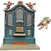 Vintage German pre-war Wood Organ Music Box w/ Angels Stille Nacht Silent Night c1910-30