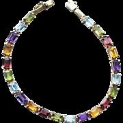 Estate 14k Gold Multi Gemstone Line Tennis Bracelet 7-8ct 8.3gr