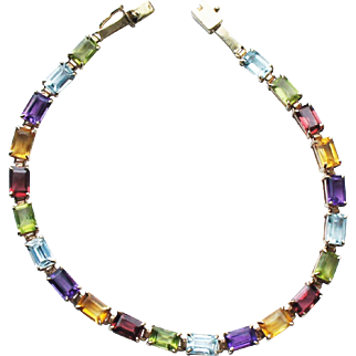 Estate 14k Gold Multi Gemstone Line Tennis Bracelet 7-8ct 8.3gr