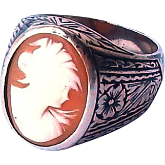 Art Deco Large Sterling Signet Ring Carved Cameo Gemstone Sz10.25