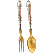 Antique French 950 Silver Emile Huignand c1880 Dolphin and Mask Rococo Salad Servers Original Box
