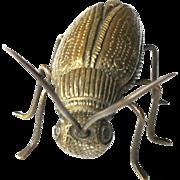 Vintage Bronze Miniature Insect Catydid Cicada Beetle Firefly Okimono un Signed