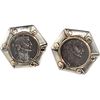 Vintage Sterling 14k Gold Set Ancient Bronze Coin Diocletian 2nd century