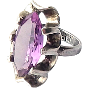 Vintage Taxco Sterling Silver 9ct Marquis cut Alexandrite Synthetic Color Change Corundum Ring sz7.75
