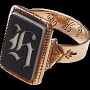 Victorian Yellow Gold Intaglio Sardonyx Signet Ring 'H' Engraved: EHH sz 10.25