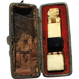Art Deco Carved Foo Lion Signature Seal Chop Fitted Leather Case and Ink 'A. Sykes'