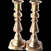 "Victorian Cast Brass Beehive and Diamond Pair 8"" Candlesticks England 1894"