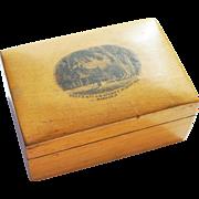 Antique Victorian Scottish Mauchline Ware Transfer Miniature Treen Box Stowe's Residence Mandarin