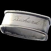 Vintage Sterling Silver Oblong Napkin Ring Engraved: Richard