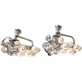 Vintage 1950s Japanese Akoya Cultured Pearl Rhodium Plated Sterling Silver Grape Cluster Earrings