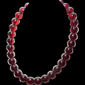 "Art Deco 13mm Round Cherry Amber Bakelite Bead Necklace 15"" 45gr"