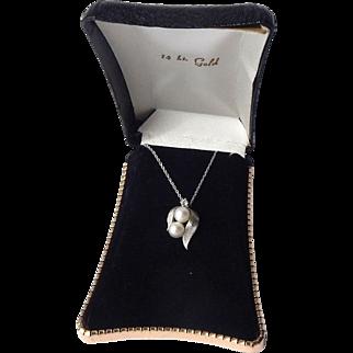 Estate 14k White Gold Cultured Pearl Diamond Pendant and Chain Necklace
