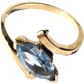 Art Deco 10k Yellow Gold Marquis Cut 1.3ct Blue Topaz Ring sz 6.5
