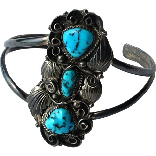 Vintage American Southwest Navajo Signed Turquoise Silver Cuff Bracelet Bobby Francis