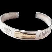 Vintage Mid Century Northwest Coast Haida or Tlingit Gold Overlay Raven or Eagle Totem Sterling Cuff Bracelet