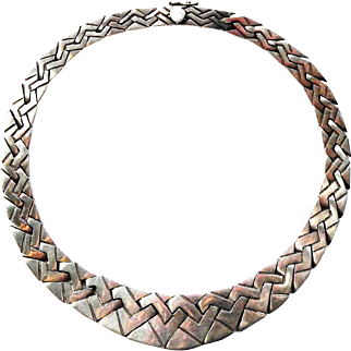 Mid Century Modern c1940-60 Mexico HEAVY BOLD Sterling Silver Interlocking Link Collar Necklace