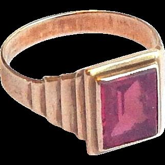 Art Deco Stepped 10k Gold 10ct Ruby Signet Ring sz 9 3/4