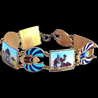 Vintage Art Deco Egyptian Revival Gilt Metal Enamel Winged Scarab Desert Theme Link Bracelet