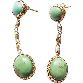 Vintage mid Century Designer 14k Gold Turquoise J. Tartar Pendant Drop Earrings