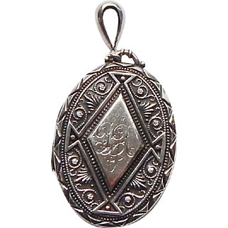 Antique Victorian British Sterling Silver Large Photograph Locket Pendant BM 1901