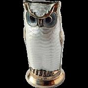 Vintage David Andersen D-A Norway 925S Sterling Guilloche Enamel Owl Salt Pepper Cruet