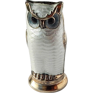 Vintage David Andersen D-A Norway 925S Sterling Guilloche Enamel Owl Salt Pepper Cruet