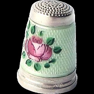 Vintage German 835 Silver Guilloche Enamel Mint Green Pink Rosebud Sewing Thimble