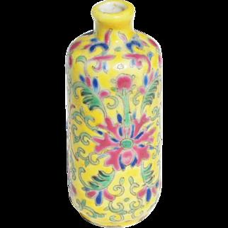 Antique Chinese Famille Jaune c1830 Porcelain Snuff Bottle