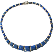 Mid Century Sterling Silver Lapis Lazuli Hardstone Inlay Collar Panel Necklace