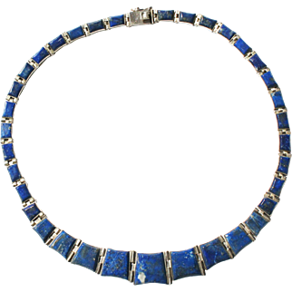 Mid Century Sterling Silver Lapis Lazuli Hardstone Inlay Collar Panel Necklace