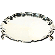 Vintage Scottish Silver Plate Footed Calling Card Tray Davis Duff Glasgow c1937-59