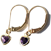 Estate 10k Yellow Gold Amethyst Heart Pendant Drop Earrings