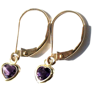 Estate 10k Yellow Gold Amethyst Heart Pendant Drop Earrings