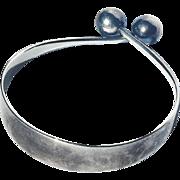 Denmark Mid Century Scandinavian Modern Hans Hansen Signed Sterling Silver Sphere Bangle Bracelet Arm Ring