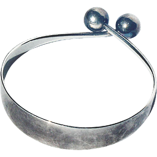 Denmark Mid Century Scandinavian Modern Hans Hansen Signed Sterling Silver Sphere Bangle Bracelet Arm Ring