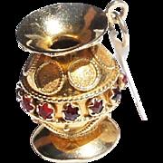 Vintage Etruscan Revival 18k Gold Garnet Oversize Urn Vase Charm Pendant 7.8gr
