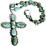 Vintage Federico Jimenez Sterling Silver Turquoise Cabochon Large Cross Pendant Nugget Bench Made Navajo Bead Necklace