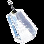 Vintage mid Century c1950 Japanese Sterling Silver Reverse Intaglio Crystal Pagoda Pendant Necklace