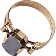Early Victorian c1840 10-14k Yellow Gold Sardonyx Signet Ring sz9
