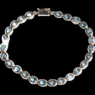 """Estate 14k Gold Oval Bezel Set Aquamarine Gem Set Tennis Bracelet 8.5"""""""