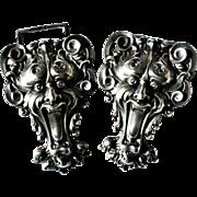 Kerr signed Art Nouveau Sterling Silver Repousse Greenman Demon Devil Belt Buckle - Exquisite!