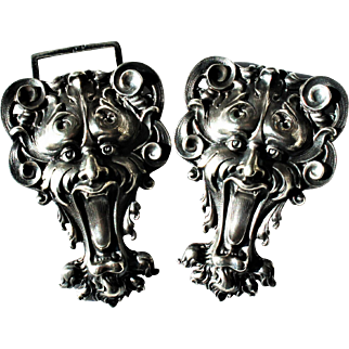 Kerr signed Art Nouveau Sterling Silver Repousse Greenman Demon Devil Belt Buckle - Exquisite!