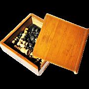 Antique Turned Fruit Wood Chess Set Orig. Box 1919 Allan Erickson