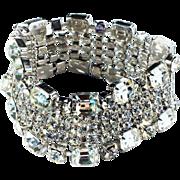 Vintage 1950s Rhodium Plate Emerald Cut Clear Rhinestone Wide Un signed Weiss Bracelet