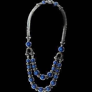 Art Deco Silver Lapis Lazuli Glass Bead Statement Necklace c1930