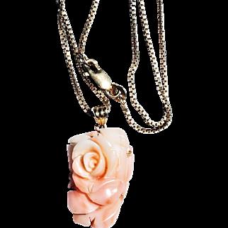 Vintage 14k Gold Carved Natural Pink Coral Rose Pendant w/ 14k Box Link Chain Necklace